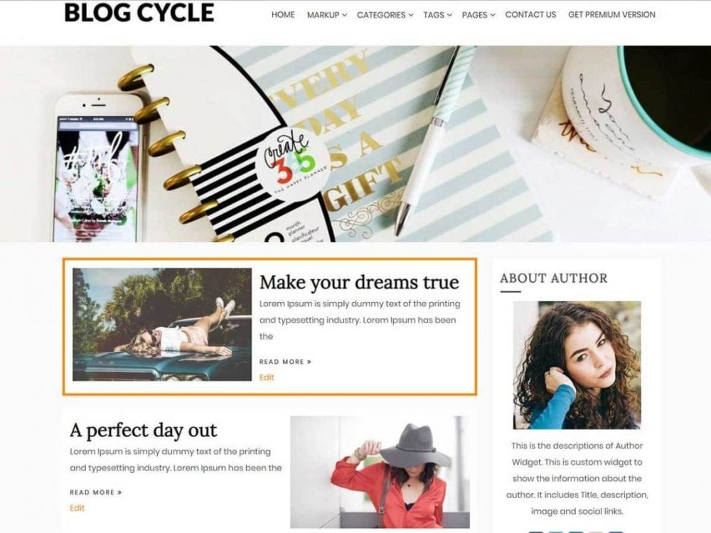 Free Blog Cycle WordPress theme