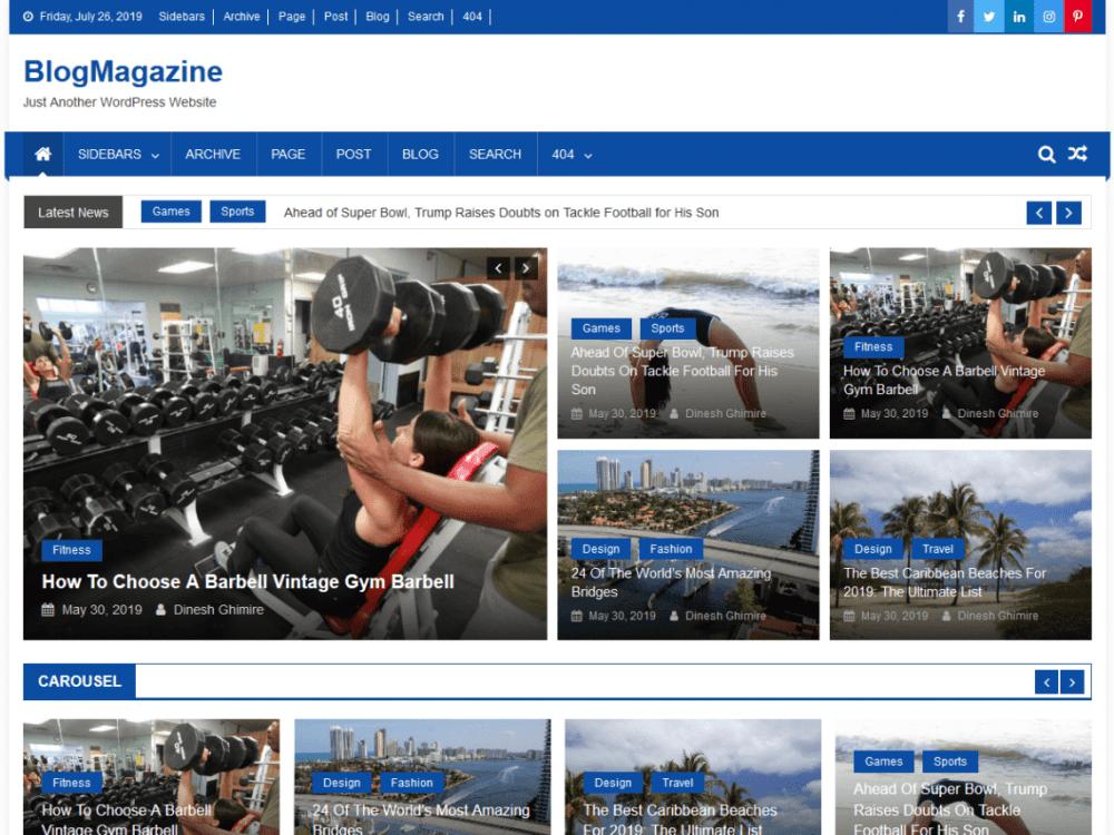 Free BlogMagazine WordPress theme