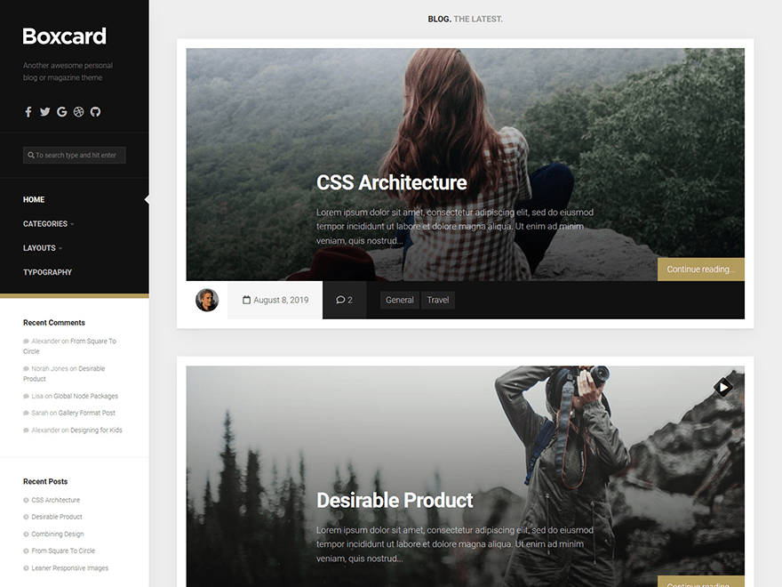 Free Boxcard WordPress theme