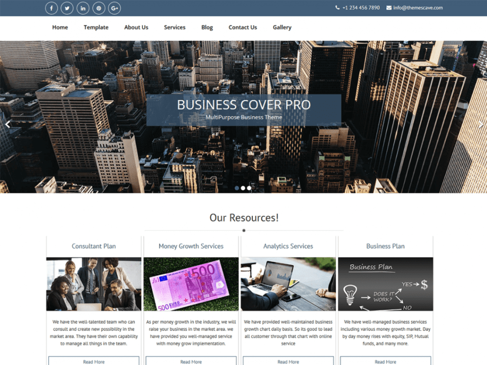 Free Business Cover Lite WordPress theme