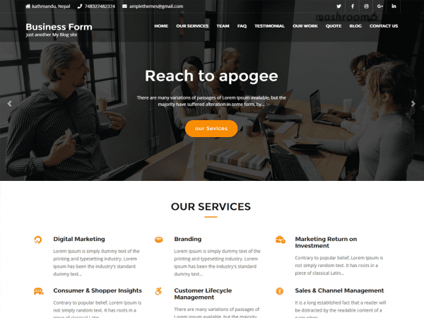 Free Business Form WordPress theme