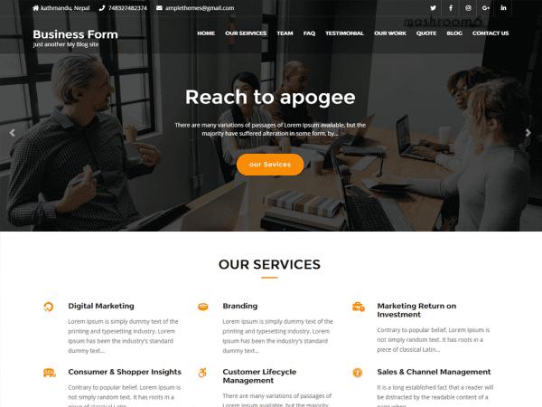 Free Business Form WordPress theme