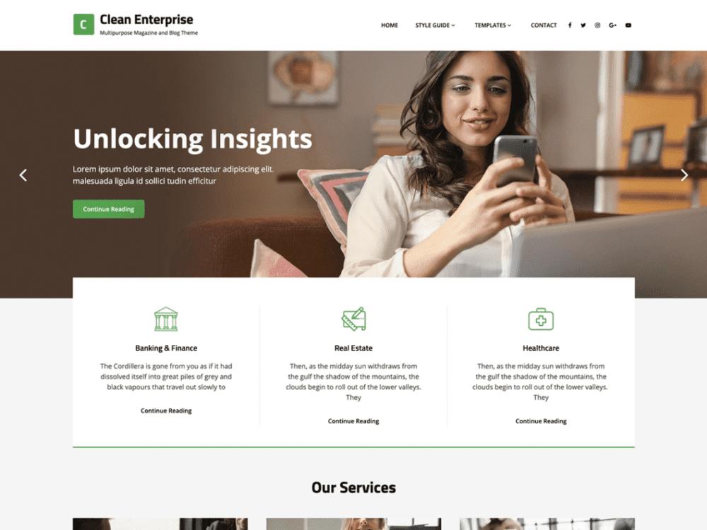 Free Clean Enterprise WordPress theme