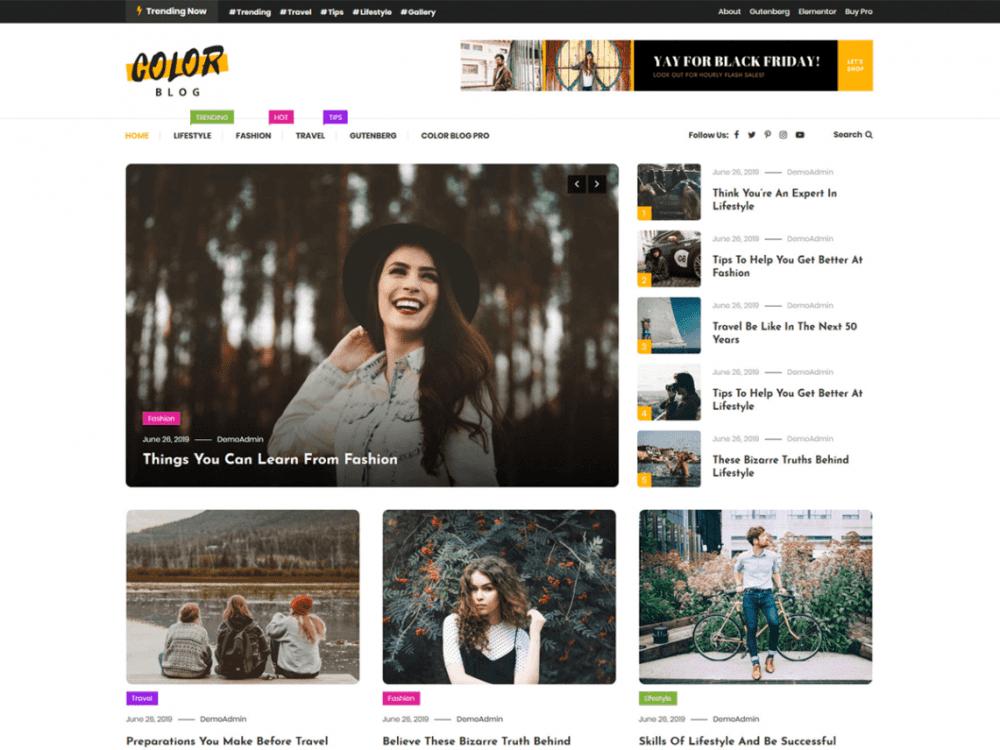 Free Color Blog WordPress theme