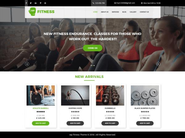 Free Core Fitness WordPress theme