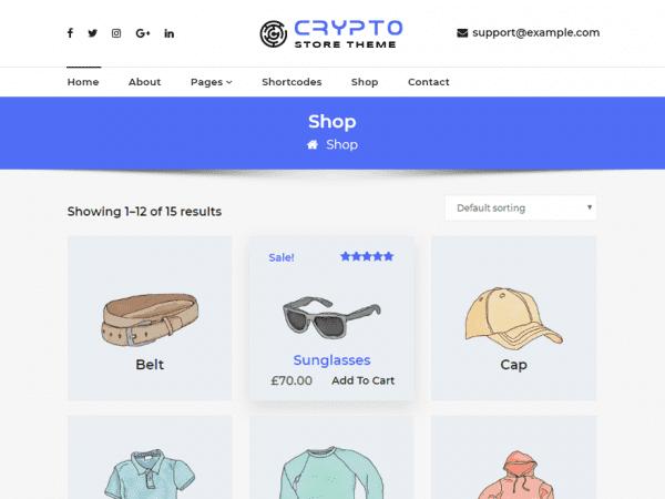 Free CryptoStore WordPress theme