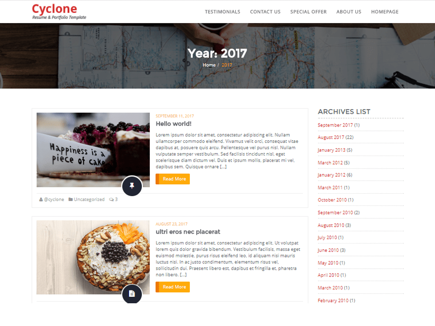Free Cyclone Blog WordPress theme