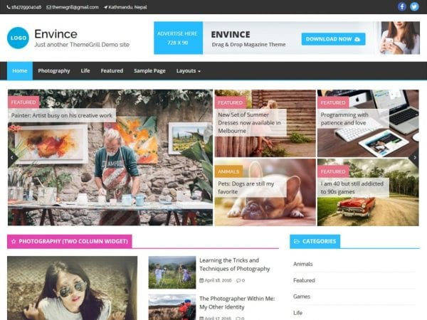 Free Envince WordPress theme