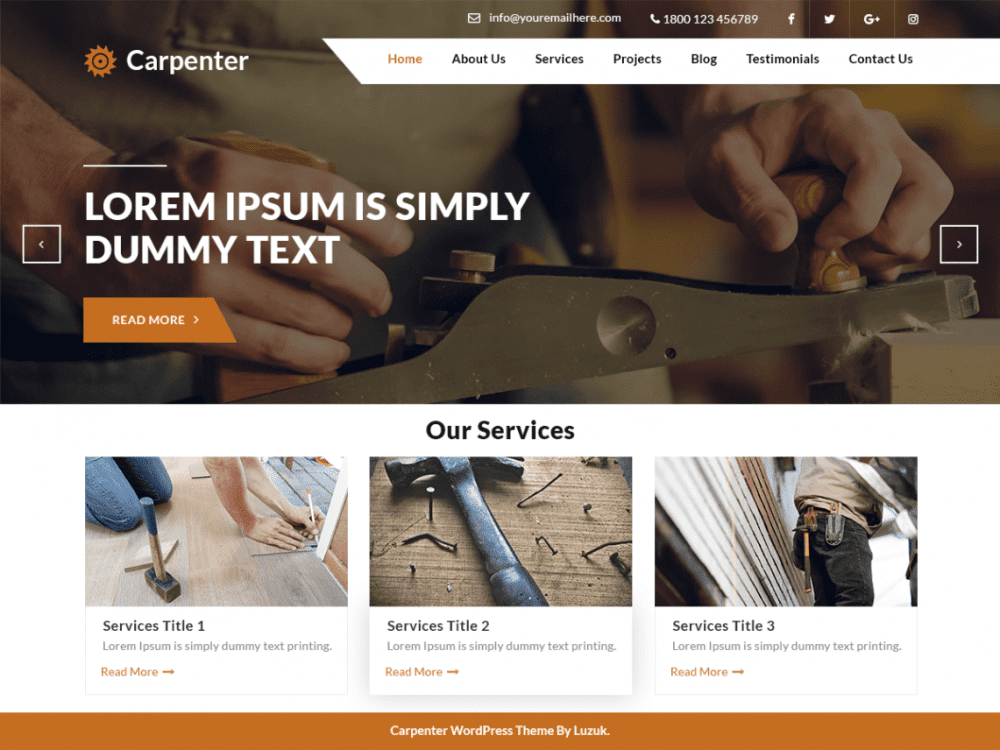 Free Expert Carpenter WordPress theme