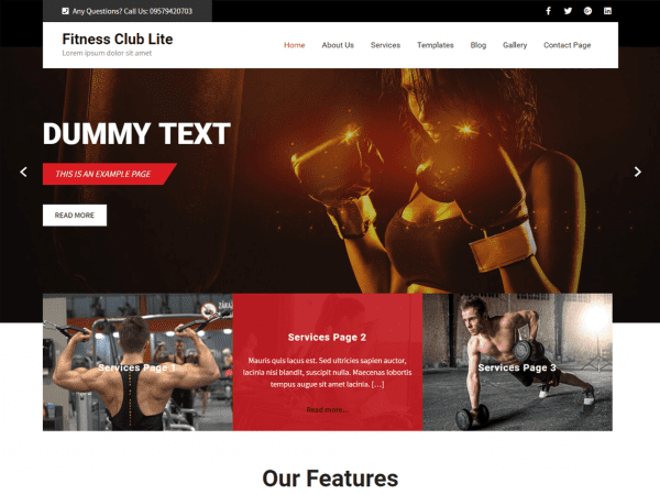 Free Fitness Club Lite WordPress theme