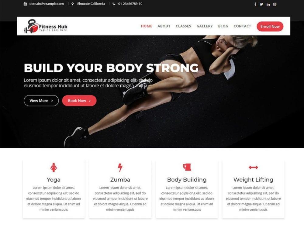 Free Fitness Hub WordPress theme