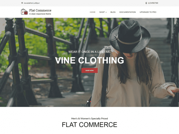 Free Flat Commerce WordPress theme