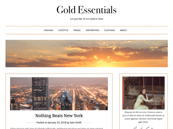 Free Gold Essentials WordPress theme