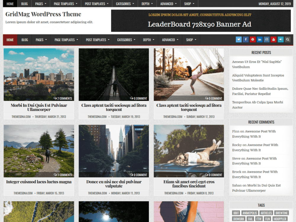 Free GridMag WordPress theme