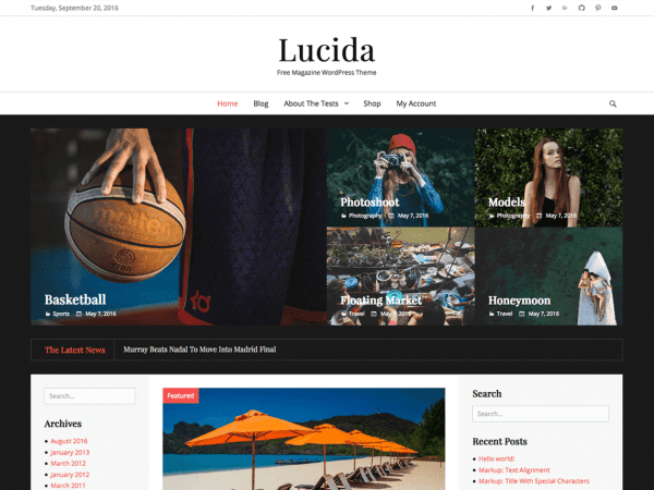 Free Lucida WordPress theme