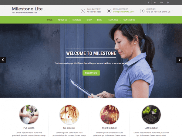 Free Milestone Lite WordPress theme
