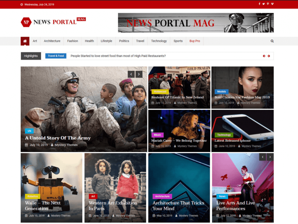 Free News Portal Mag WordPress theme