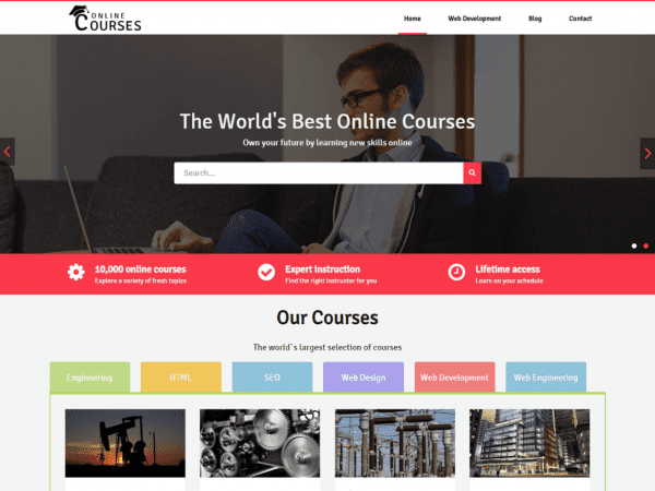 Free Online Courses WordPress theme