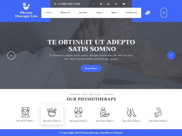 Free Physiotherapy Lite WordPress theme