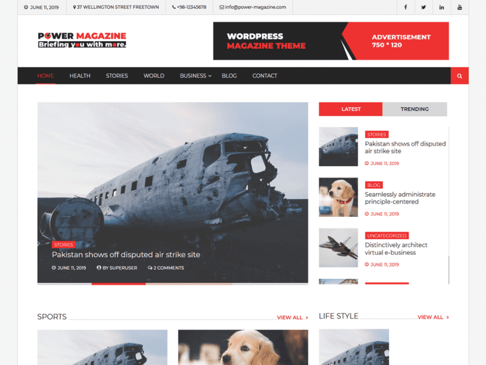 Free Power Magazine WordPress theme