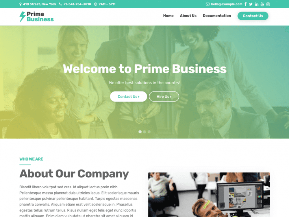 Free Prime Business WordPress theme