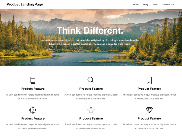 Free Product Landing Page WordPress theme
