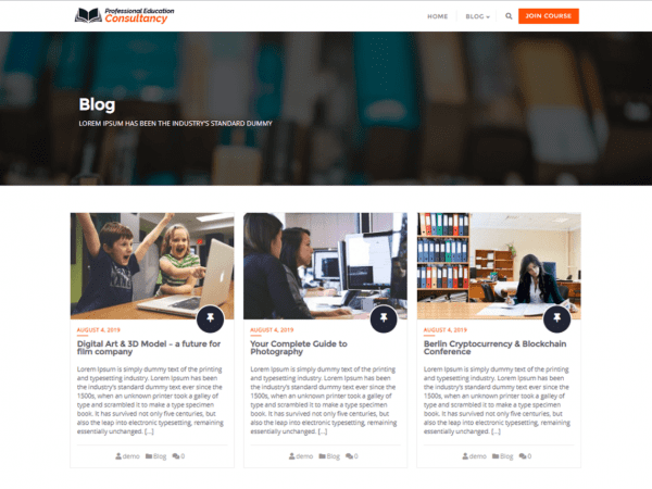 Free Professional Education Consultancy WordPress theme