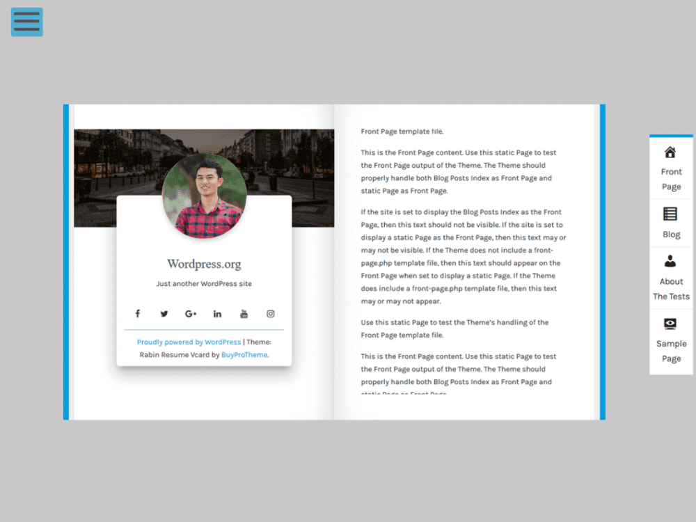 Free Rabin Resume Vcard WordPress theme