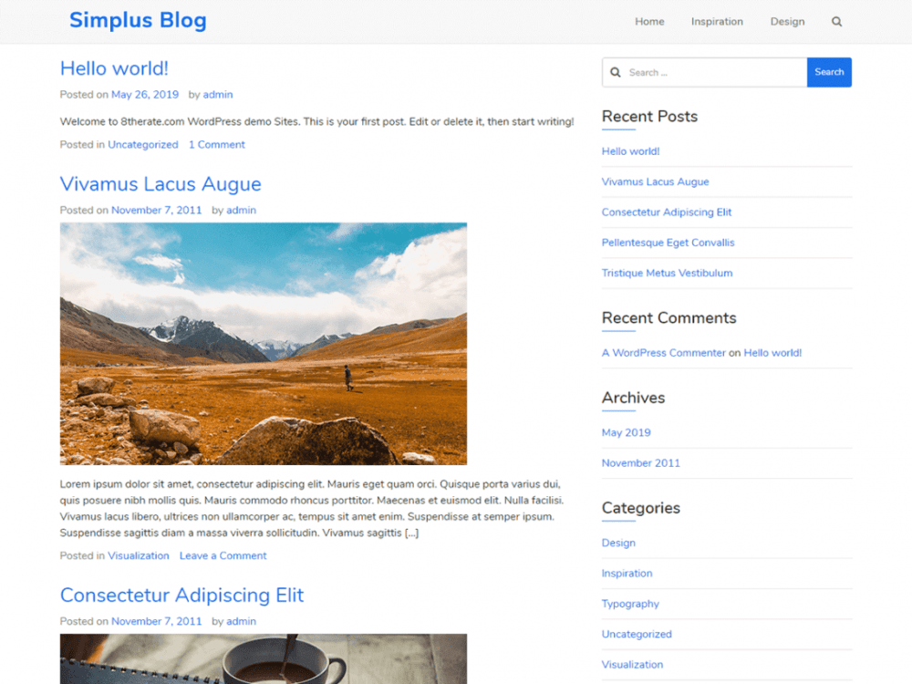 Free Simplus Blog WordPress theme