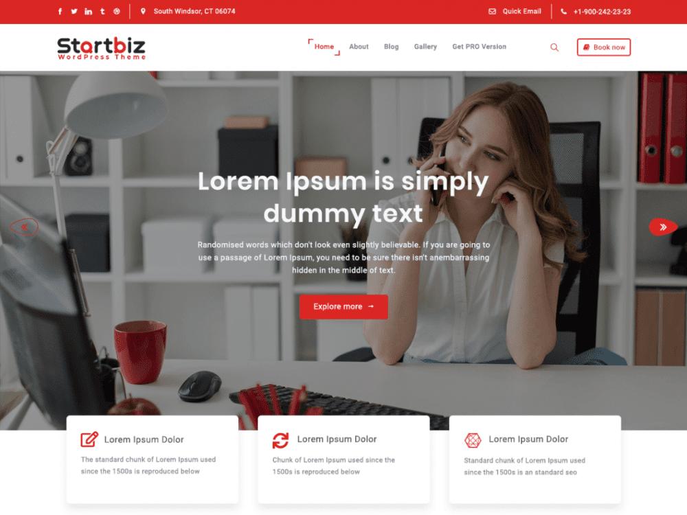 Free StartBiz WordPress theme