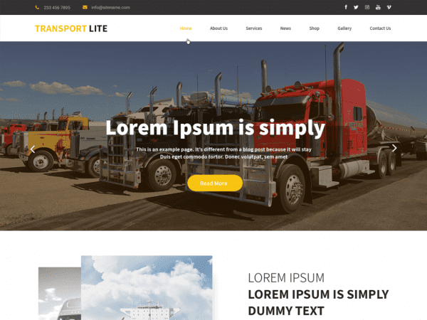 Free Transport Lite WordPress theme