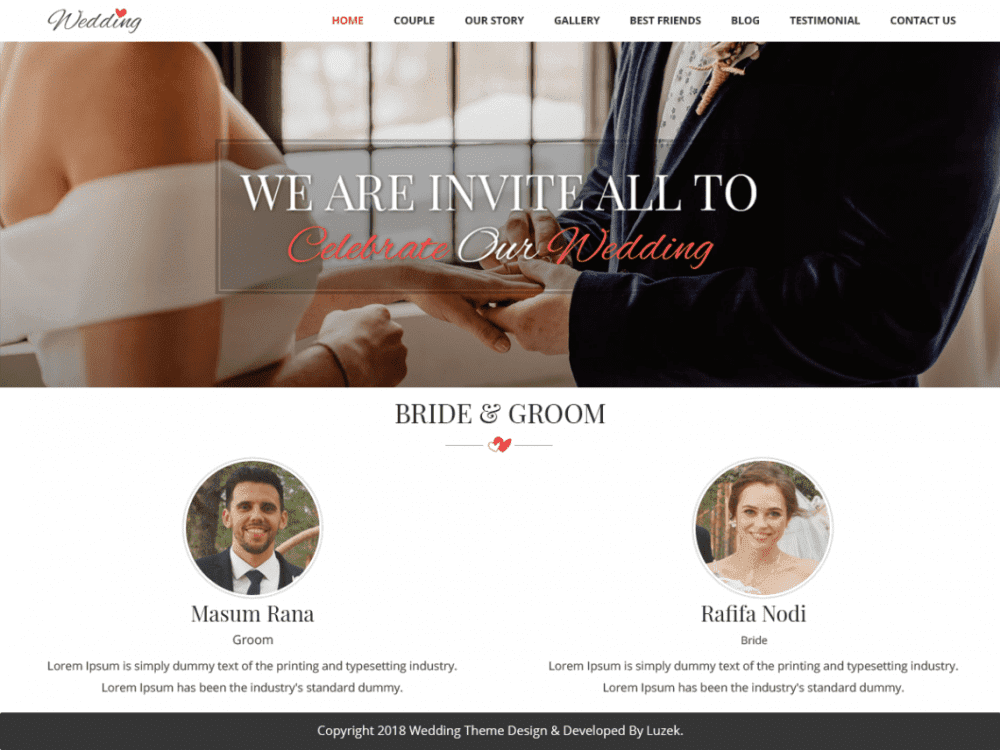 Free Vivah Royal Wedding WordPress theme