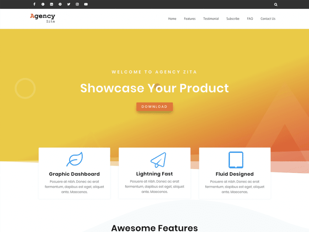 Free Agency Zita WordPress theme