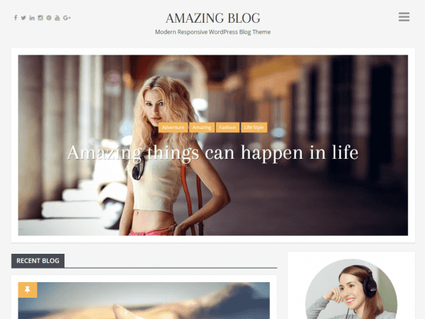 Free Amazing Blog WordPress theme