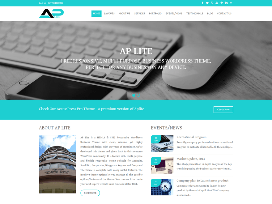 Free Aplite WordPress theme