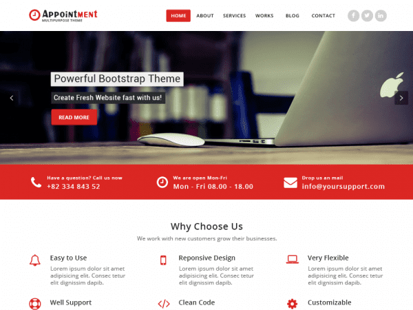 Free Appointment Red WordPress theme