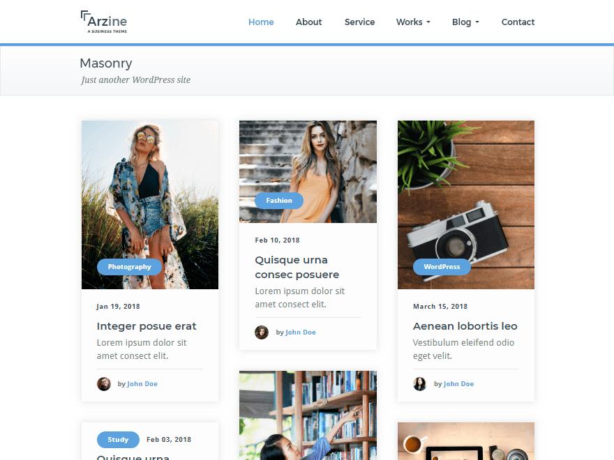 Free Arzine WordPress theme