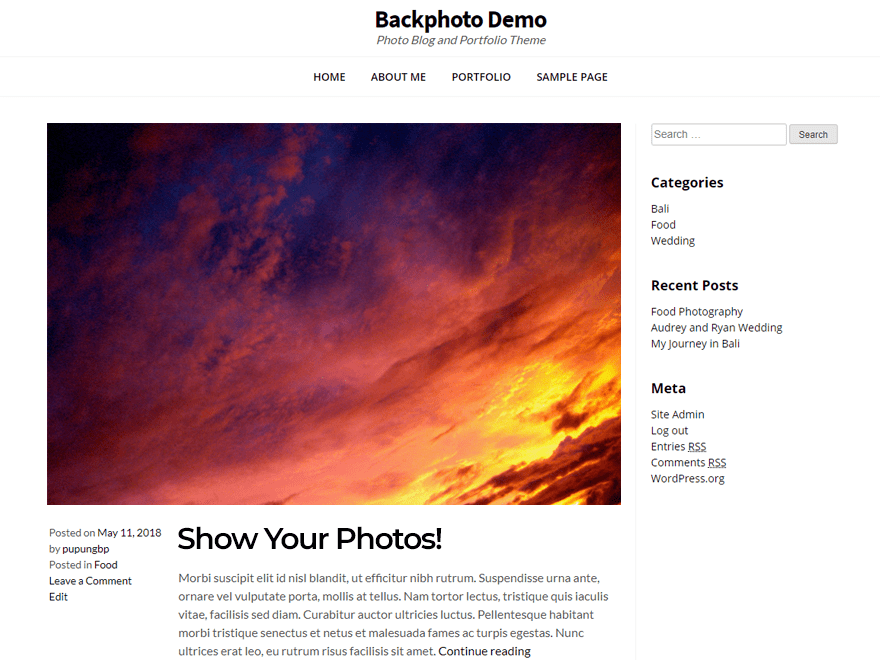 Free Backphoto WordPress theme