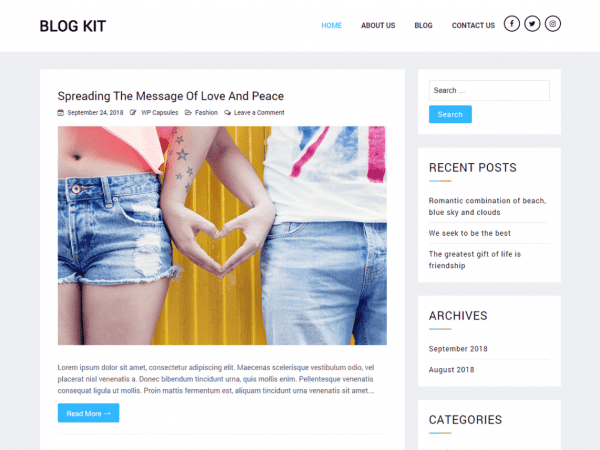 Free Blog Kit WordPress theme