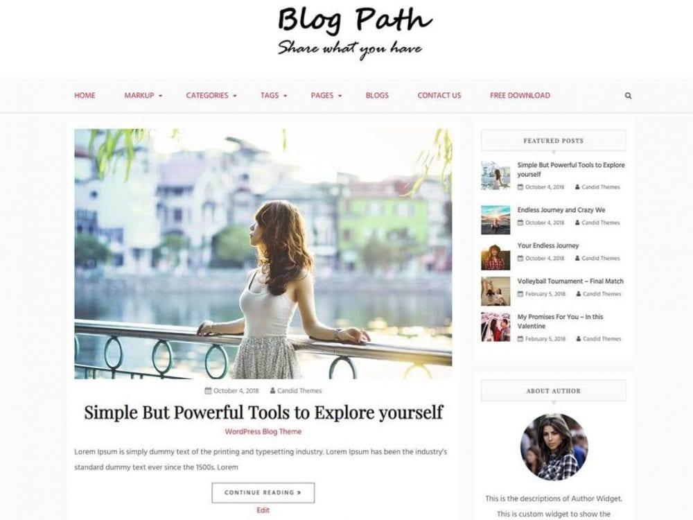 Free Blog Path WordPress theme