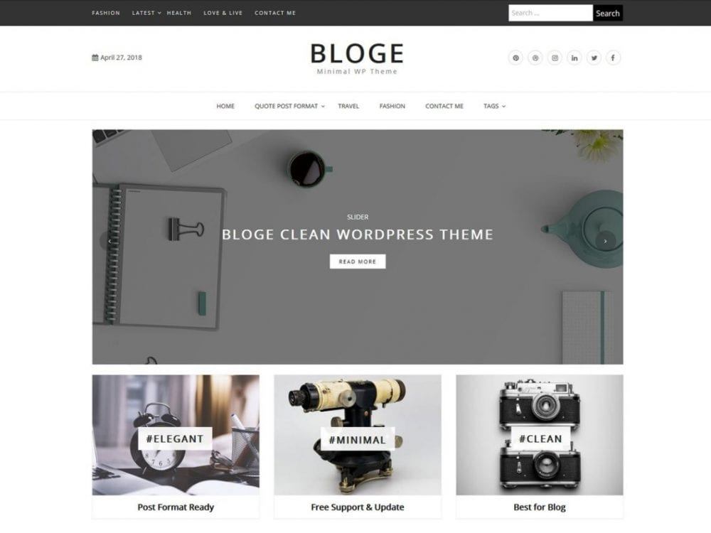 Free Bloge WordPress theme