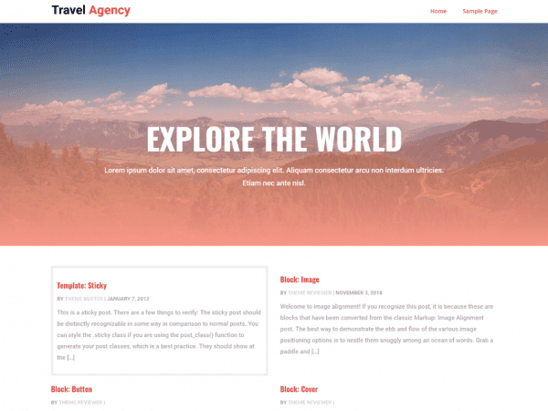 Free CGS Travel Agency WordPress theme