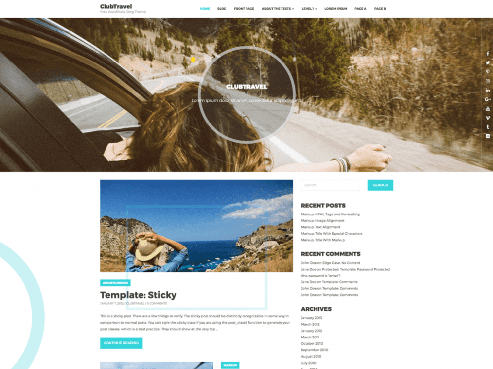 Free ClubTravel WordPress theme