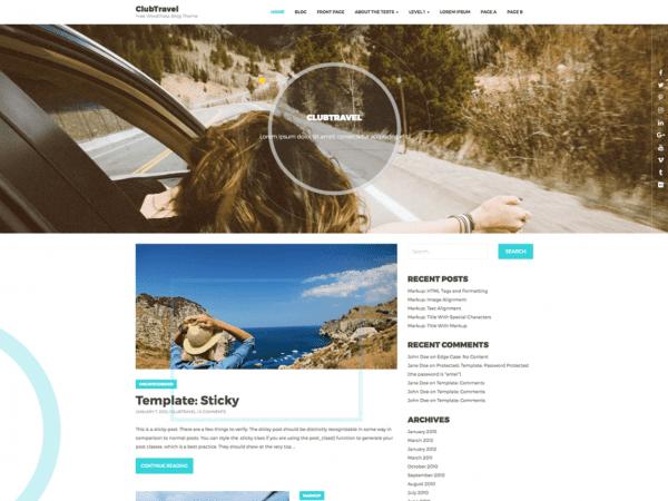 Free ClubTravel WordPress theme