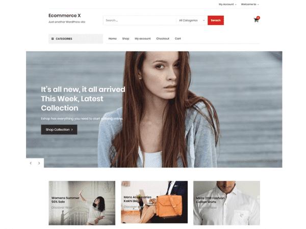 Free Ecommerce X WordPress theme