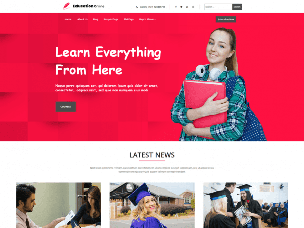 Free Education Online WordPress theme