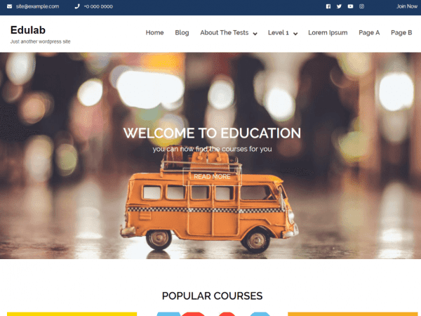 Free Edulab WordPress theme