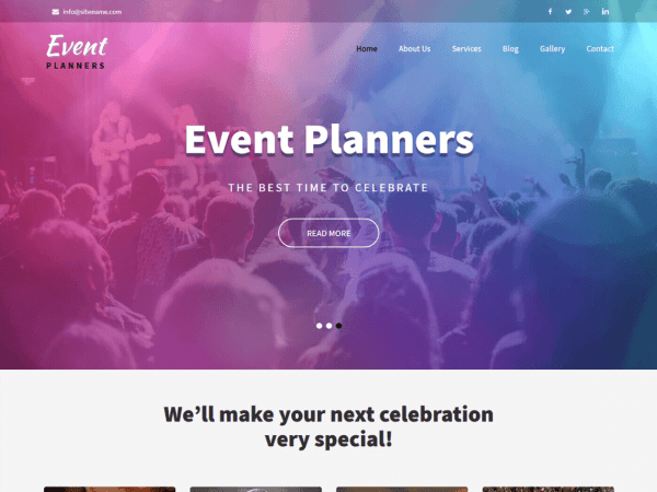 Free Event Planners WordPress theme
