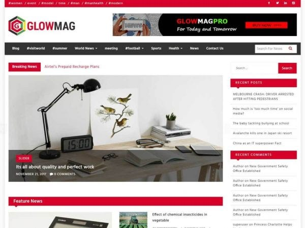 Free GlowMag WordPress theme