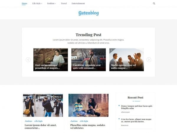 Free Gutenblog WordPress theme